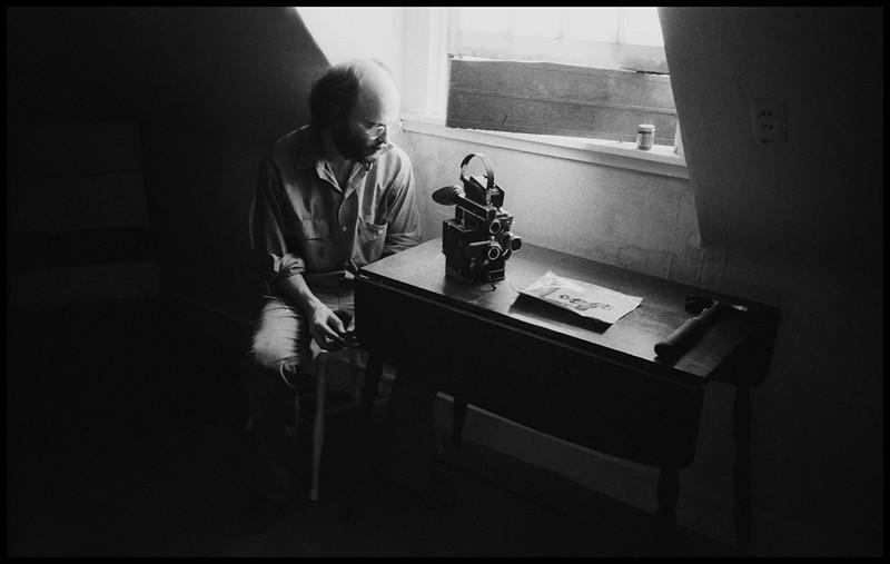 Jim Blashfield with his Bolex and hammer.  1977.<br /> Photo: Richard Blakeslee