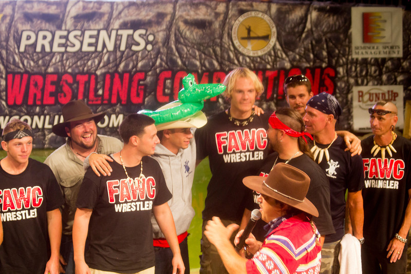 At the 2012 Freestyle Alligator Wrestling Competition with the gang. Left to right is Shea, Tre, Dan, Scott, myself(Chris), Andy, Jimmy, Paul, Rob, and Paul Simmons on the mic