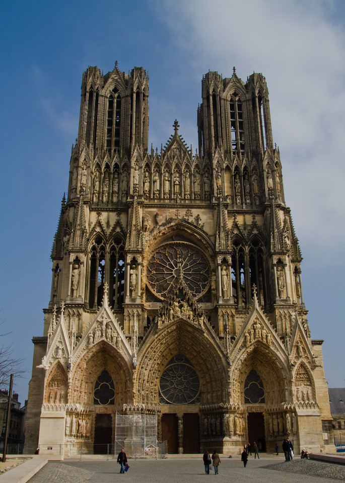 Notre Dame Reims, France. The clouds that form a low, thick blanket over all Champagne for most of the winter, cleared for a few hours. I was happy to take this picture during the only day I wasn't in the cold, wet and windy vineyards