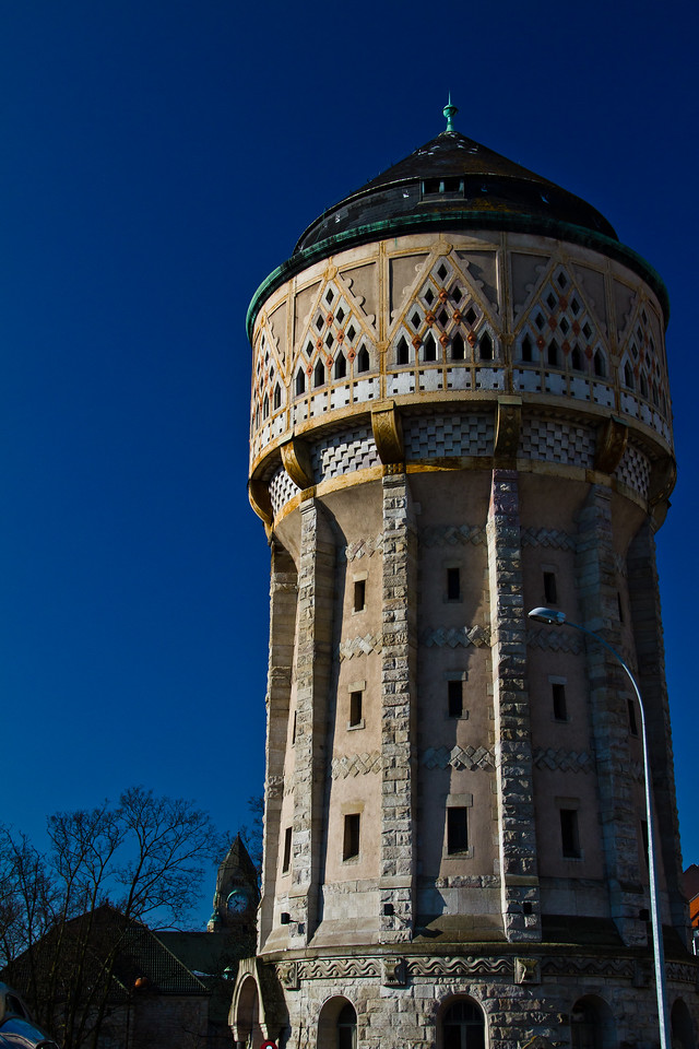 The train from the Champagne region to Alsace winegrowing region stops for an hour or so in the town of Metz VIlle. This is Chateau d'eau, a water tower in the heart of the downtown. This type of artisanry is long gone.