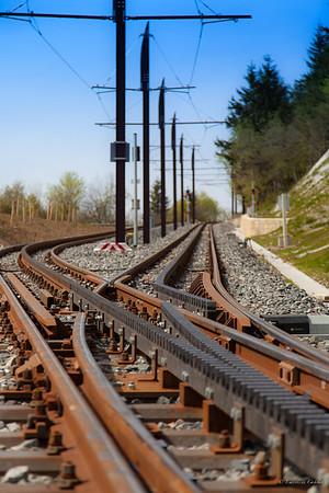 Premiers éléments du train à crémaillères qui gravira le puys de Dôme - Puys de Dôme - France