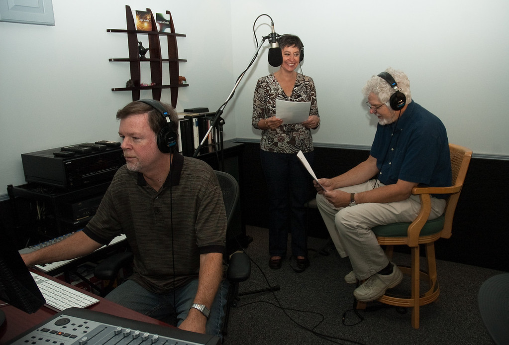"Gene directing voice over for ""Experience Oconee"" with narrator Linda Walker and sound engineer Bill Koepnick."