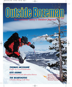 Cover image for Outside Bozeman winter 2002. Skier Greg Livers turning into Mad Man's Bridger Bowl Montana. Photo by Jim R Harris Bozeman Montana Photographer