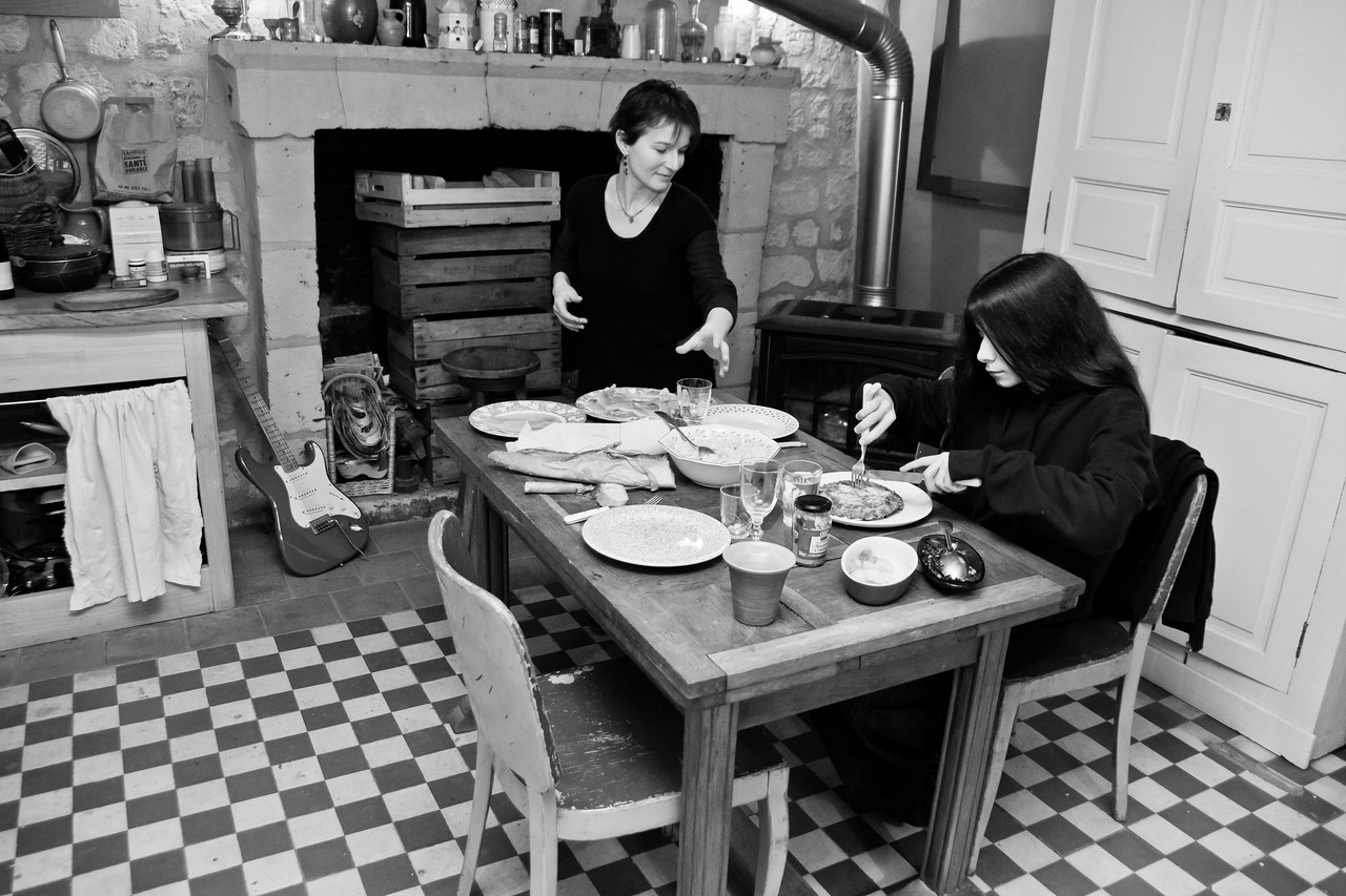 My hosts in Candes Saint Martin, in the heart of the Loire winegrowing region. Bourgueil, Savonnieres, Chinon and Saumur, all just a few km away. We're about to sit down to a simple dinner on a cold winter's eve during the final days of February, 2011. Patricia (professional photographer) and her son Louisin aren't really sure what to make of me (my first night), but they smile, and laugh as we pass the time. I cannot forget these people, they are genuine and honest and beautiful