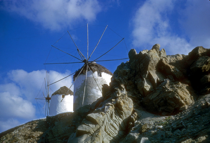 Wind Mills of Mykynos Greece, I was stranded on this beautiful island in January 1964. We missed the twice a week boat several times.