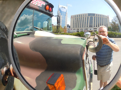 Used my Coolpix S6000 to make this photo of me using the mirror on the front of the Redneck Tour Bus in downtown Nashville.