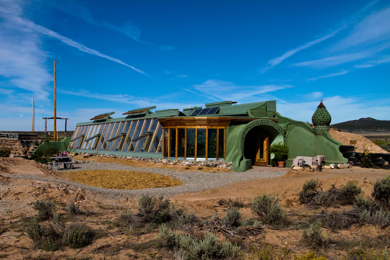 this is part of the Earthship visitor center, about 20 minutes north of Taos, NM. The dwellings are constructed of mostly recycled materials, use solar energy exclusively and are, for the most part 100% sustainable and off the grid.