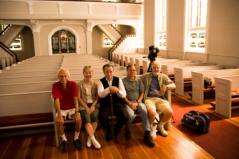 Heritage movie crew Steve Hall, Sally & Scott Keeley, Luther Lyle and Gene Borman at St Johns Church in Walhalla, SC