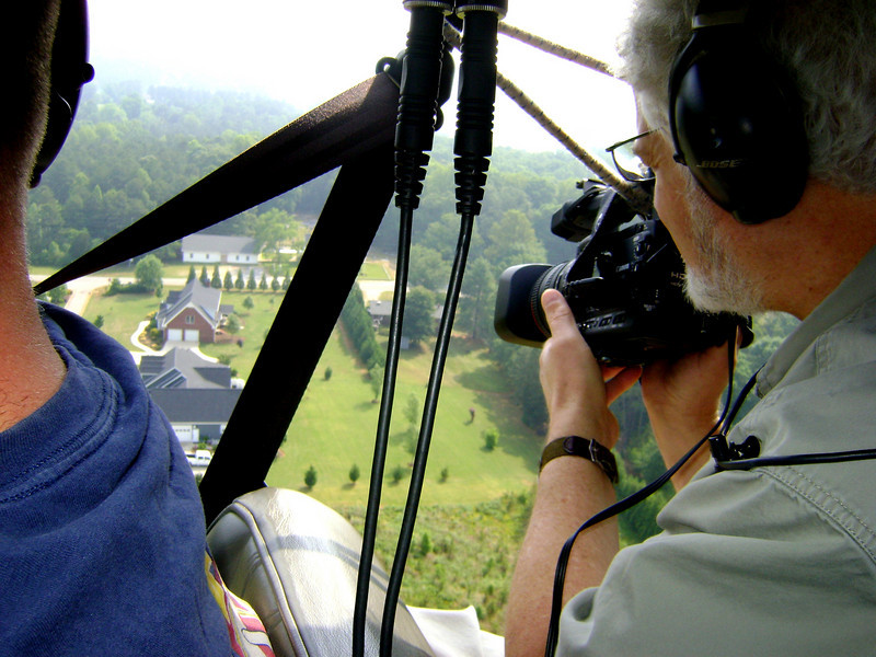 Gene shooting aerial footage for Borg Warner