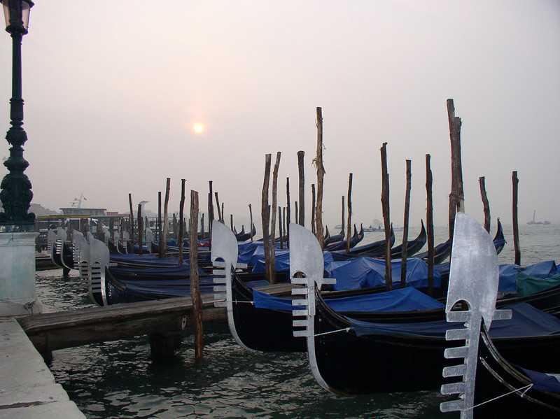 Gondolas stationed along Grand Canal, Venice, Italy, 2006