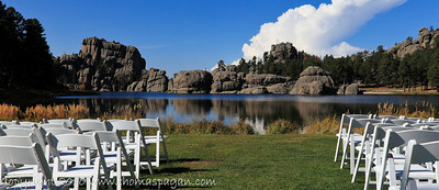 When you get to go to Mt Rushmore, Treat yourself to an extra day's tour of the scenic by-ways surrounding it.  This unexpected view is at Sylvan lake. Someone was about to get married at this scenic location!