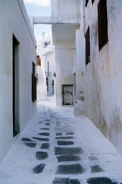 A typical street in Mykanos Greece, they wander everywhich way. Extremely difficult to navigate after several bottles of Retsina and shots of Ouzo