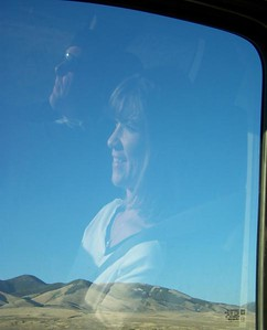 Our reflections in the window on a road trip near Salmon, Idaho 7.08