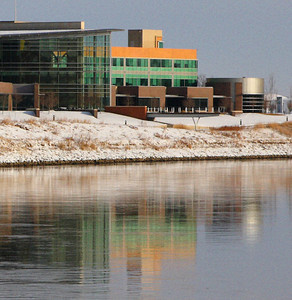 Wintry reflection on the Missouri River, downtown Omaha. Gallup University Campus.