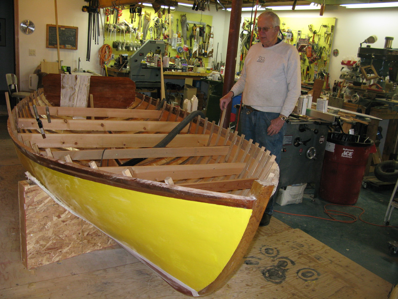 Dad and sail boat 4 years under construction, nearing completion.