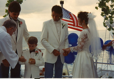 Cindy and David Popp Wedding. Marco Island,Fl. 1993  Double Sunshine Boat