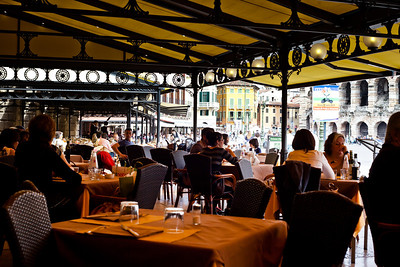 Lunch  in Verona after a long day at Vin Italy, the Arena is on the  right