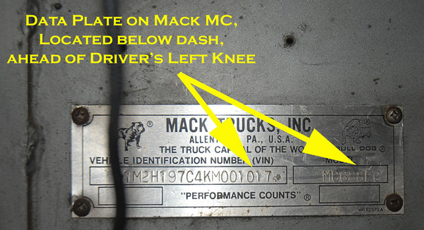 Mack MC data plate