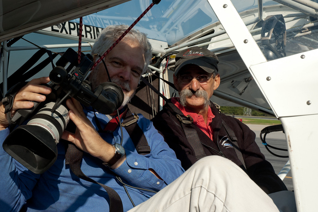 Gene straps in for an aerial shoot with pilot Gary Weaver of Just Aircraft, Walhalla, SC