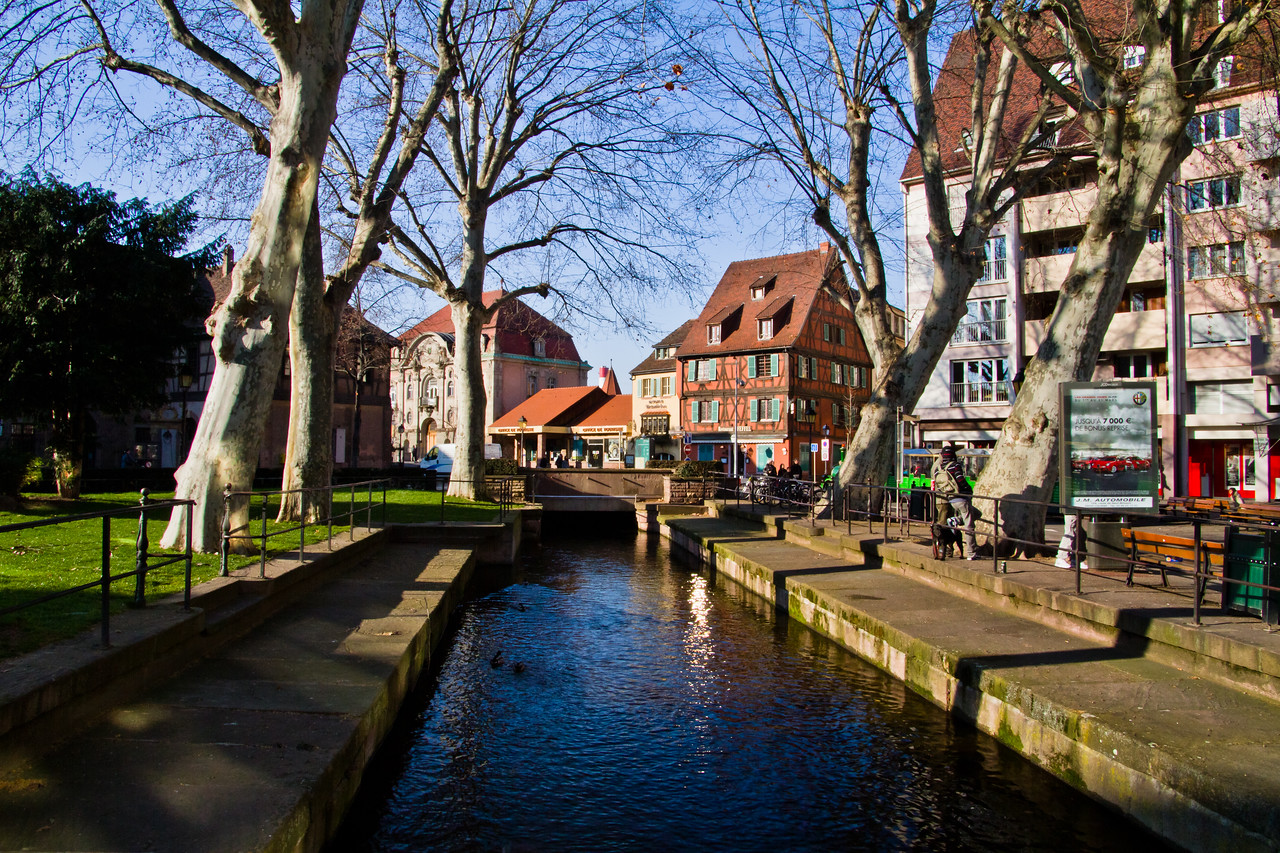 The air is clear, but very crisp (cold) and the wind seems to never cease in the first week of March in Alsace (Colmar Centre), France.