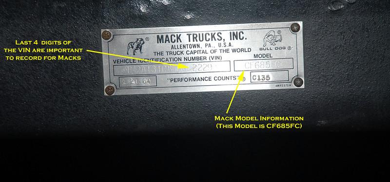 Mack Cf data plate closeup