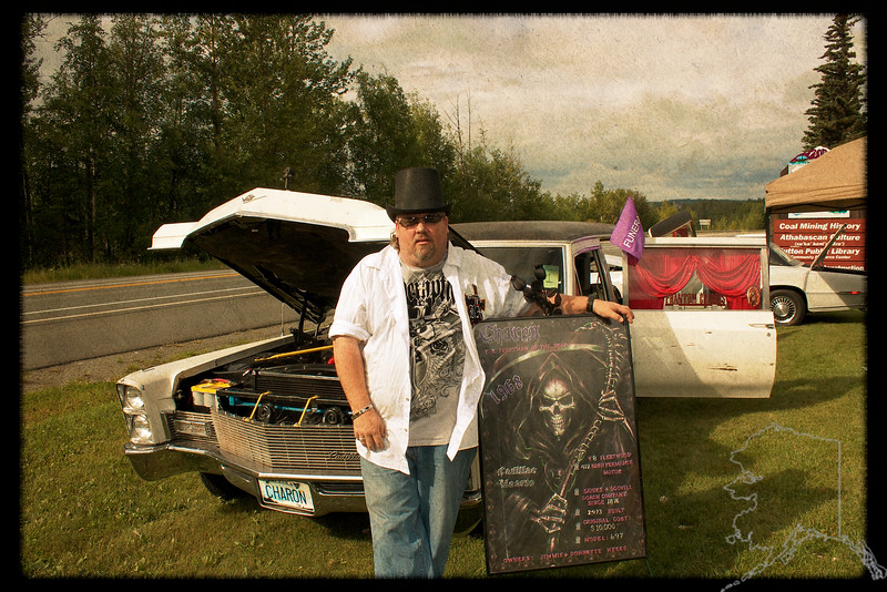 Yes that is me and yes that is a 1968 Caddy Hearse. My Show car.