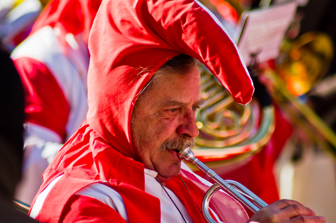 Colorful costumes, plenty of music and dancing, plenty of wine and beer, that's Carnivale in Trier (Mosel), Germany, 2011. After the parades filled with colorful characters and floats, people take time for a rest, then it's back out to the after-parade parties in the local beer halls. The Germans can dance.