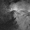 Four frame mosaic show a wider view of NGC6188 captured in Ha