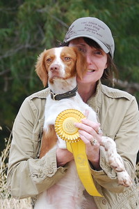 Me with our newest furkid, Angel (Shiloh's Swift Kiss A Taq) after she placed 3rd in Open Puppy at her first Field Trial.