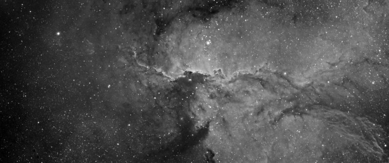 One of my project to capture a wide view of NGC6188<br /> Two frame mosaic of NGC6188 in Ha showing more details left side of the nebula