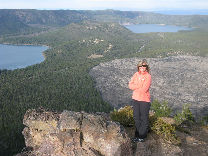 Newberry crater National Monument near Bend Oregon. Obsidian flow in background. 7,900ft.