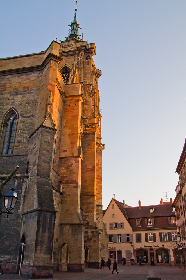 the setting winter sun on the Collégiale Saint Martin, in Colmar Centre, Alsace, France. If you visit and didn't bring a scarf (or two) this time of year, you'll be buying one soon. Gloves wouldn't hurt either...the wind howls incessantly.