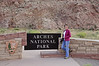 Jacki at Entrance to Arches National Park