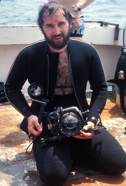 """This was the start of """"The Wet Lens.""""  That is a Canon F1 w/Speedfinder and 20mm lens in an Ike housing.  It was a rough day and, as Stan Rogers sings, """"and tho' I'm never seasick, I lost dinner over side.""""  I slapped the camera together and went for a dive on the Papoose.  At 50' I noticed a fair amount of water in the housing and opted to continue the dive as the camera was already a loss."""