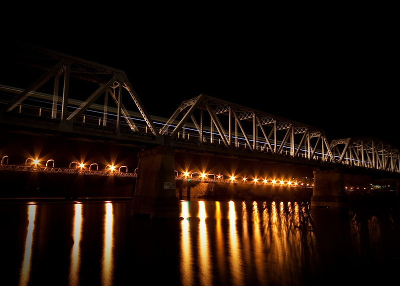 Train Bridge -Murray Bridge - blue line in a long exposure tells the story of a train leaving town