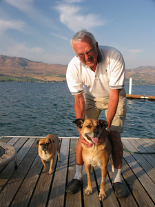 Dad and Dogs Lucy and Humphrey. Simonds Dock Lake Chelan. 2009.