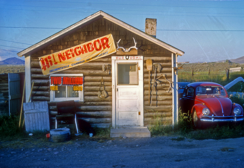 This was a one room cabin that I lived in in 1963 in Lima Montana. Working for the USGS Geologial survey it was a lonely summer and I put up the sign to attract some company. Lima Montana in 1963 had a population of about 15.  The sign didn't work.