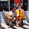 Ron with Ronald McDonald, US Highway 5, in the Great Central Valley of California, 1995