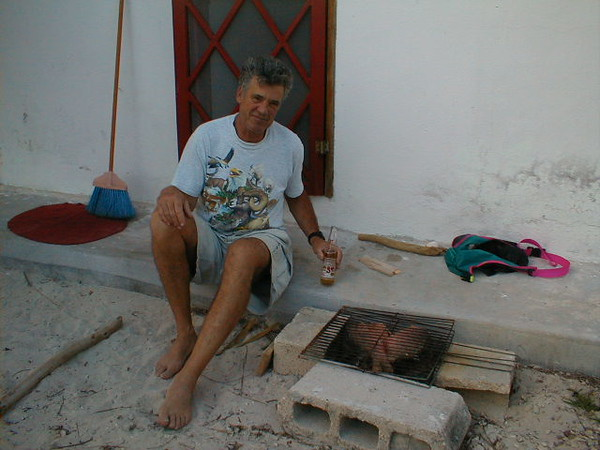 Grilling dinner on my Mexican BBQ in Yucatan