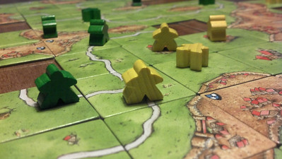 Playing Carcassonne.