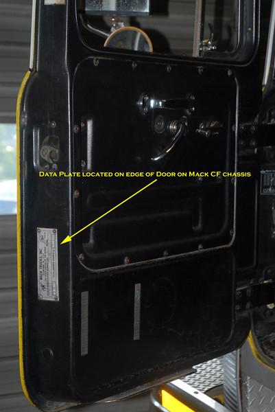 Mack Data Plate Location