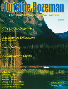 Cover image for Outside Bozeman Summer 2001. Canoeing Hyalite Lake Montana. Photo by Jim R Harris Bozeman Montana Photographer