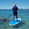 Trying a Paddleboard on Lake Tahoe.