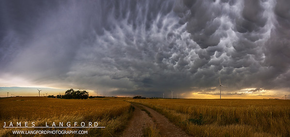 """May 22nd - """"Fields of Gold""""  North West Oklahoma I shot this panorama this past Saturday while chasing storms in NW Oklahoma.  When I saw this location I knew we had to stop and shoot from here.  The storm dwarfed the immense grain elevators as they spun quickly due to the intense winds.  The pillow like clouds on the right are called Mammatus.  They generally indicate strong turbulence and are often formed by strong thunderstorms.  Technical Details: Shot with Canon 5d mk2 and Canon 24-70mm lens at F10 and 1/8.    Panorama created from 10  vertical shots."""