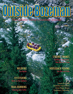 Cover image for Outside Bozeman Summer issue 2002. Aerial image of rafters floating down the Gallatin River Montana. Photo by Jim R Harris Bozeman Montana Photographer
