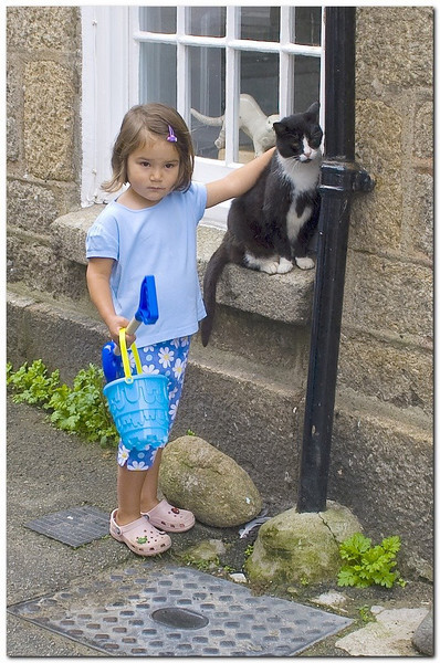 happy cat and girl