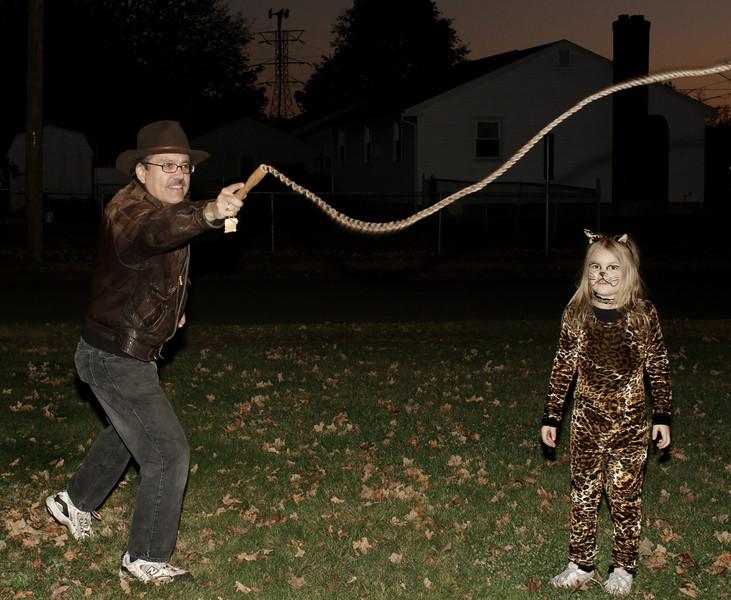 Me channeling Indiana Jones as little leopard looks on.