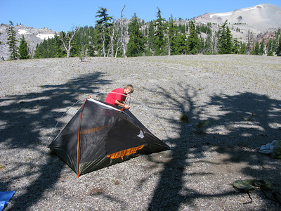 Pumic field campsite, Sisters Oregon. South Sister background 10,200ft.