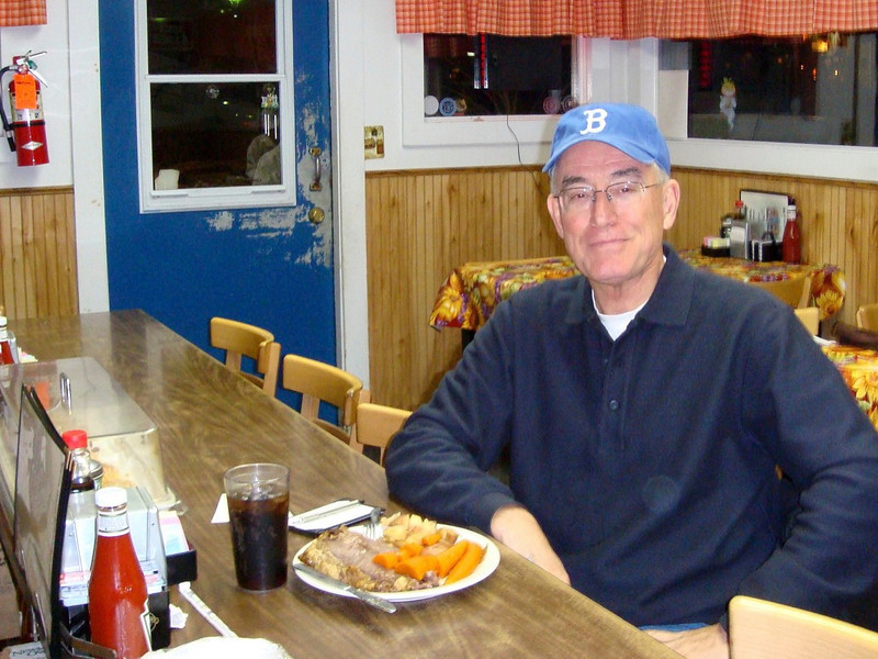 The Cooperstown Diner, within a block of the National Baseball Hall of Fame and Museum, is small, uses well-worn tables and counters, is frequented by the locals -- and it serves delicious diner-style food!  Parker is getting ready to dig into a slab of beef roast with carrots and potatoes.