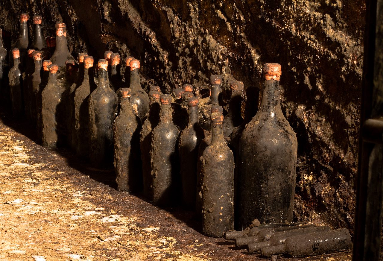 The mold in these old cellars is everywhere: the floor, the walls (2 inches thick), the ceiling, the bottles, everywhere. Taken in the old part of the cellars at Cascina Chicco, Canale (Roero), Piemonte. If you're visiting the area, you must visit Cascina Chicco, you won't find a better ambassador for the region, its wines and its way of life.